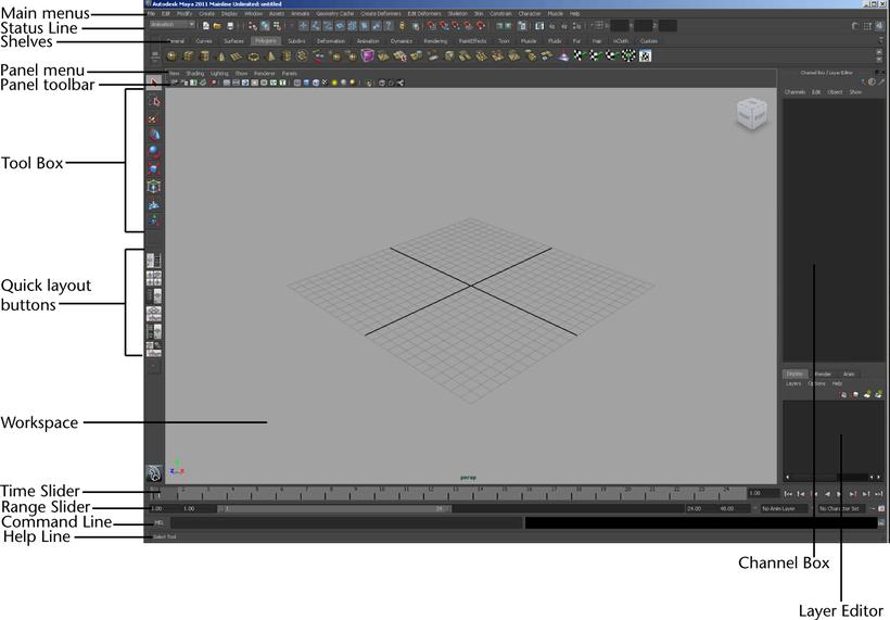 Autodesk Maya Online Help: Main window