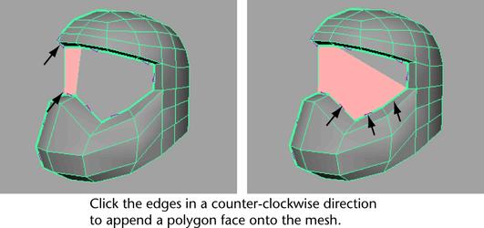 Autodesk Maya Online Help: Adding polygons to a mesh